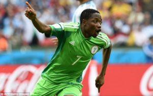 Il nigeriano Musa che ha regalato la vittoria alla squadra africana